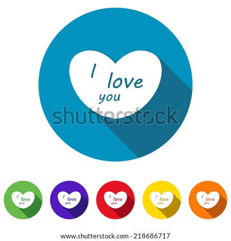 Beautiful Love Heart I love You web icon - stock vector