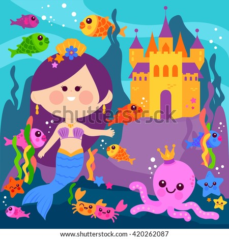 Beautiful mermaid underwater, castle and sea animals. - stock vector