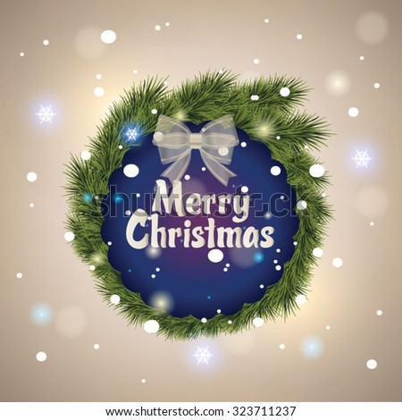 Beautiful Merry Christmas lettering card. Vector illustration  - stock vector