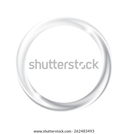 Beautiful metallic glowing wedding silver ring with sparkles and blending texture, isolated on white background. Vector illustration. - stock vector