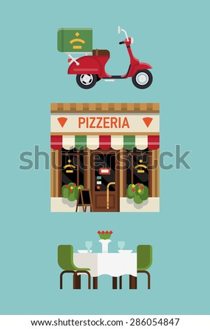 Beautiful modern flat design vector items on pizzeria restaurant with delivery service scooter, facade and served table for two. Ideal for restaurant business infographics - stock vector