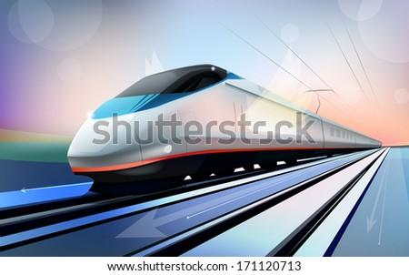 beautiful modern train - stock vector
