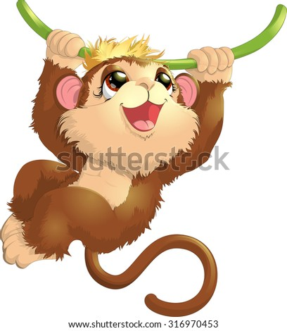 beautiful monkey that hangs on a tree - stock vector