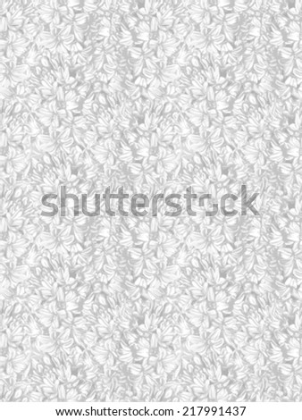 Beautiful monochrome, black and white vertical seamless background with hyacinth. Hand-drawn with effect of drawing in watercolor - stock vector