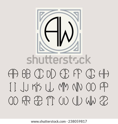 Beautiful Monogram Art Nouveau and a set of templates of letters inscribed in a circle. - stock vector