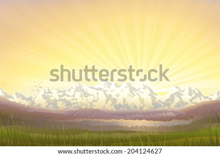 Beautiful mountain landscape at sunset in the evening  - stock vector
