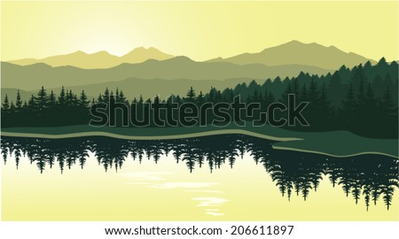 Beautiful mountain landscape with reflection in the lake - stock vector