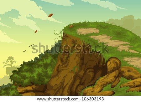 Beautiful mountainous background vector - stock vector