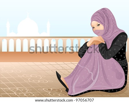 Beautiful muslim woman in hijab sit on roof. eps 10. Vector illustration. - stock vector