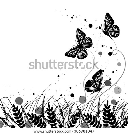 Beautiful natural background with silhouettes of grass and butterflies. Vector illustration in black and white style. - stock vector