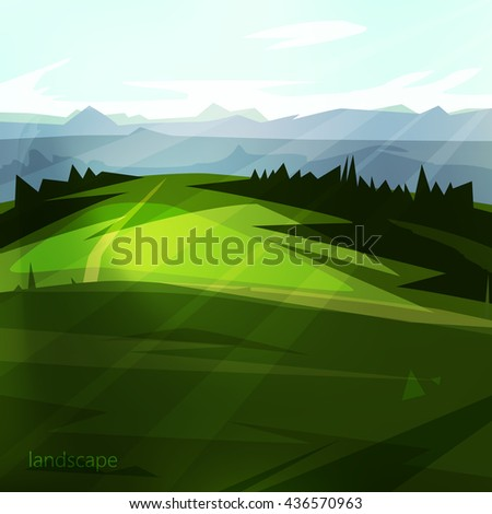Beautiful natural scenery. landscape with trees, beautiful meadow and mountains A great background for your design. - stock vector