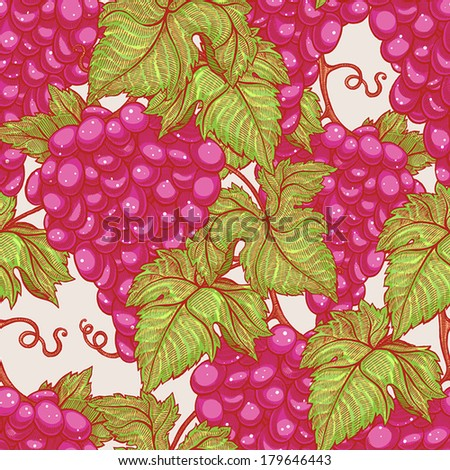 beautiful natural seamless vintage background with bunches of ripe red grapes. vector illustration  - stock vector