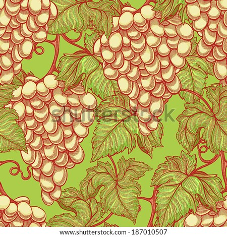 beautiful natural seamless vintage background with bunches of ripe white grapes. vector illustration  - stock vector