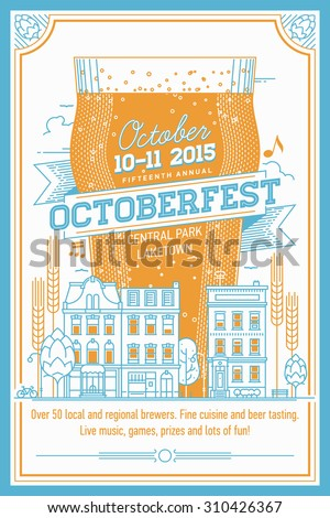 Beautiful Octoberfest beer festival vector poster, or flyer in retro style | Annual beer festival even invitation template with lettering, nonic beer glass, townhouses city street, hops and more - stock vector
