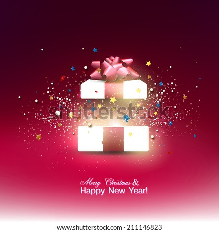 Beautiful open Christmas gift with red bow and place for text. Vector - stock vector