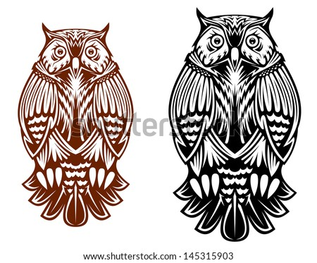 Beautiful owl isolated on white background for sport team mascot, tattoo or emblem design or idea of logo. Vector version also available in gallery - stock vector