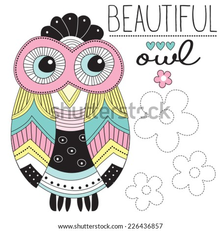 beautiful owl vector illustration - stock vector