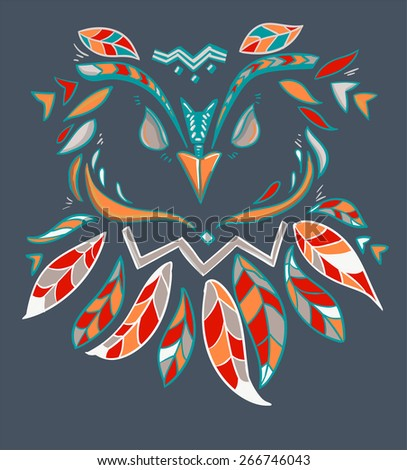 beautiful owl vector illustration, color, abstract illustration, silhouette, design - stock vector