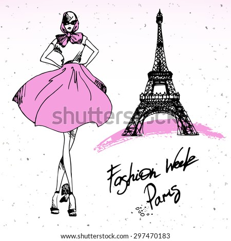 Beautiful painting, sketch art - romantic set of black and pink hand drawn element and  isolated. Fashion girl in Paris. Fashion print of card in french style - vector illustration. - stock vector