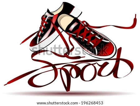 beautiful pair of red sneakers and laces forming the word sport isolated on white background - stock vector
