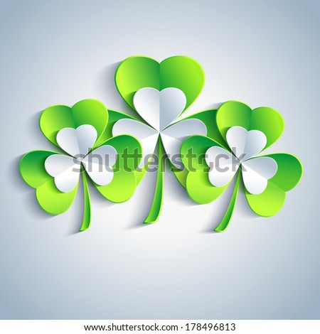 Beautiful Patricks day card gray with three 3d leaf clover. Trendy Patricks day background with three green and gray leaf clover. Modern floral background. Vector illustration  - stock vector