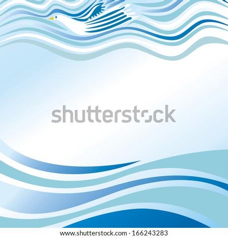 Beautiful pattern sea clouds bird sky vector illustration - stock vector