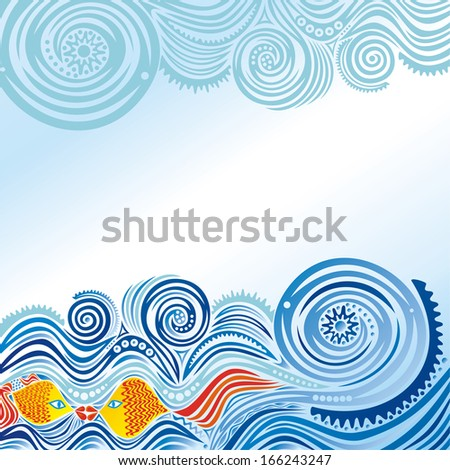 Beautiful pattern sea fishes bird sky vector illustration - stock vector