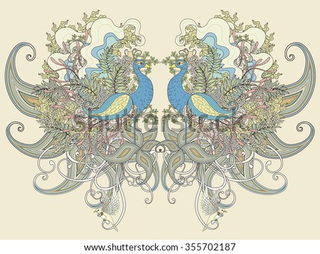 beautiful peacock coloring page with floral elements in exquisite line - stock vector