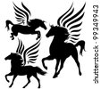 beautiful pegasus horses black silhouettes over white - stock vector