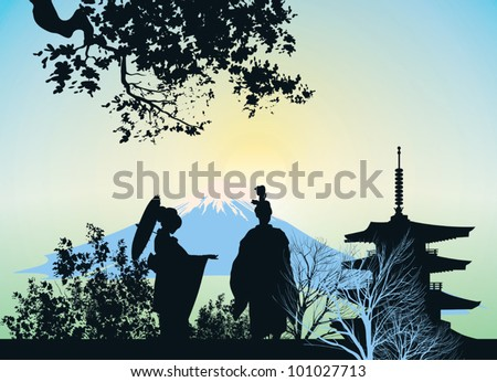 beautiful picture of a geisha, mountains and trees - stock vector