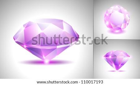 Beautiful pink amethyst diamond (vector set) - stock vector