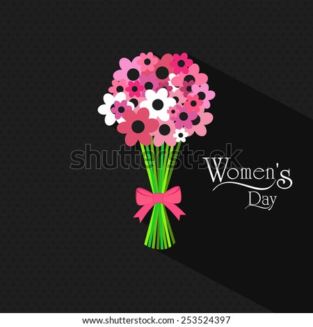 Beautiful pink and white flowers decorated bouquet on grey background for Happy Women's Day celebrations. - stock vector