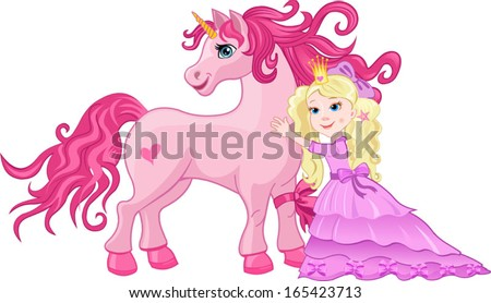 Beautiful pink fairy Princess embrace Unicorn - stock vector