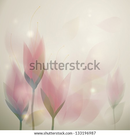 Beautiful Pink flowers / Romantic floral card - stock vector