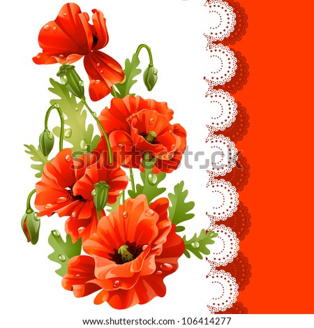 Beautiful postcard with red poppies - stock vector