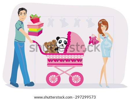 beautiful pregnant woman and her husband on shopping - stock vector