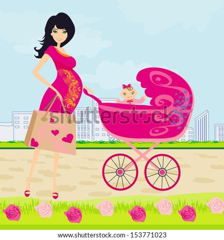 beautiful pregnant woman pushing a stroller with her daughter - stock vector