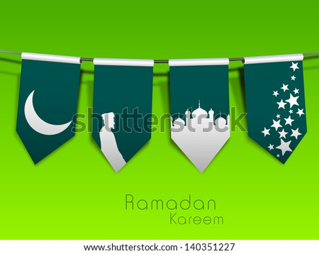Beautiful Ramadan Kareem concept with shiny moon, mosque and stars on green background. - stock vector