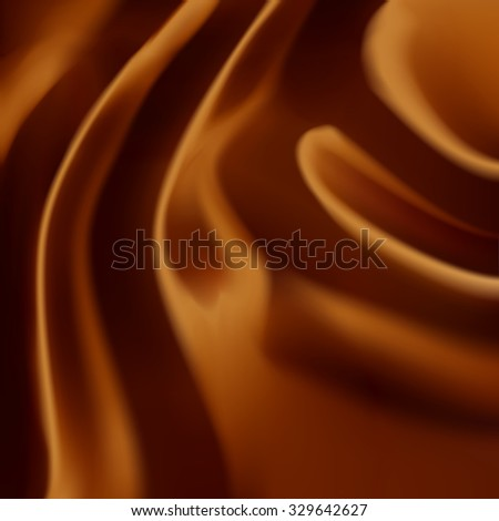 Beautiful realistic brown expensive shining silk fabric or liquid chocolate. Drapery Textile Background, Vector Illustration - stock vector