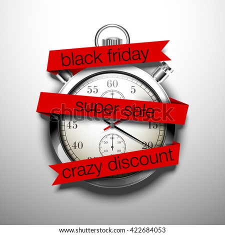 Beautiful realistic vector illustration of shiny chrome stopwatch isolated on white background. an inscription on a flat red paper tape: black friday, super sale, crazy discount - stock vector