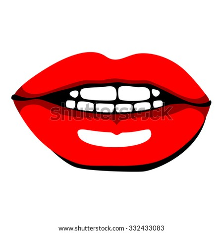 Beautiful red female lips. Ink drawing. - stock vector