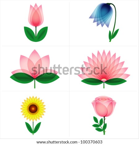 Beautiful rose, tulip, bell flower, aster, lotus, sunflower. Vector. - stock vector
