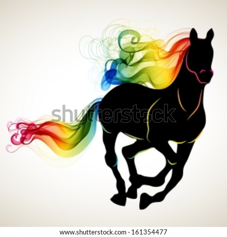 Beautiful running Horse black silhouette with bright color abstract tail and mane, for 2014 New Year design, Vector - stock vector