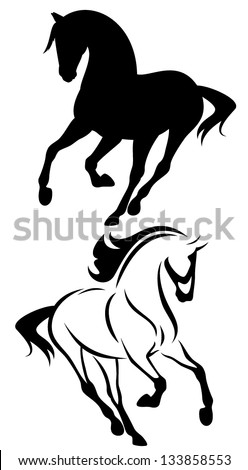 beautiful running horse vector outline and silhouette - black and white illustration - stock vector