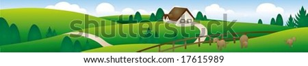 Beautiful rural Landscape Banner with happy travel : vector illustration - stock vector