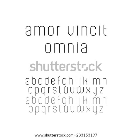 Beautiful sans serif font in lowercase (two versions included: regular and light) - stock vector