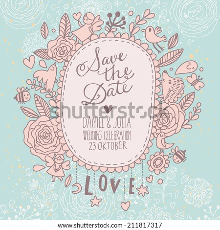 Beautiful Save the Date card in vintage style. Delightful wedding invitation with a lot of romantic elements: flowers. birds, bee, hearts and others in vector - stock vector