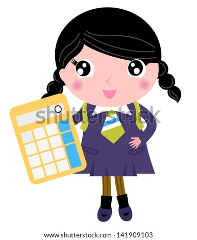 Beautiful school girl with yellow calculator isolated on white - stock vector