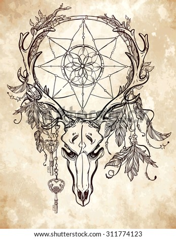 Beautiful scull tattoo art. Vintage deer, bull, elk, horns. Antlers with branches and ornate dream catcher with stars, lock,  feathers. Hand drawn outline work. Vector illustration. Isolated.  - stock vector