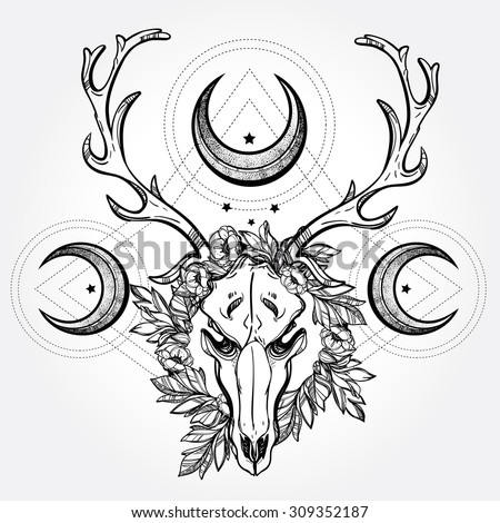 Beautiful scull tattoo art. Vintage deer scull pagan style. Antlers with branches and ornate moons with  stars. Hand drawn outline work. Isolated Vector illustration.  - stock vector